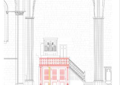 Tribune sud (orgue italien), vue de face